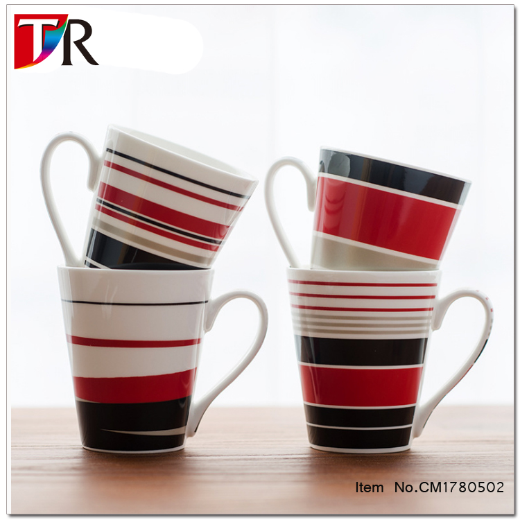 Custom logo acceptable 301-400ml stripe printed adult coffee mug <strong>ceramic</strong>