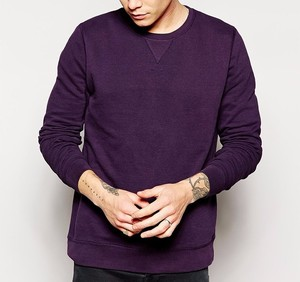 Custom O Neck Long Sleeve Purple 100% Cotton Plain Hoodies Men