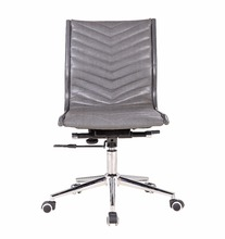 Modern ergonomic slim luxury leather swivel armless secretary office chair