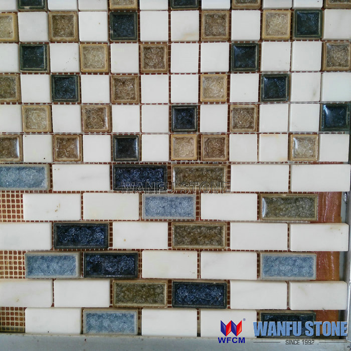 2015 Iridescent mosaic art bathroom cheap family mix color glass mix stone mosaic tile for hotel project
