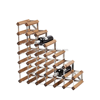 Pre- Assembled 27 bottle galvanised steel with natural pine wood diagonal Wine Rack,wine stands for 27 wine bottles