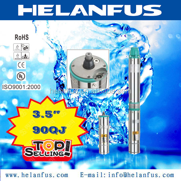 "3.5"" 90QJ stainless steel solar powered submersible deep water well pump"