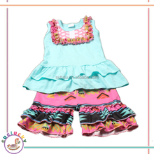 hot sale ruffles bib vest and colorful short pants infant girls tank top suits