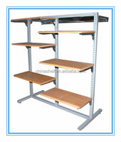 Double-side powder coating wooden clothing display rack
