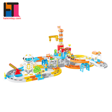 Best sale plastic electric rail cars fast race toys train set track for kids