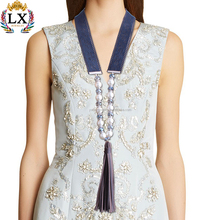 NLX-01050 High quality elegant dark blue flannelette leather tassel imitation pearl pendant necklace