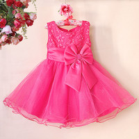 2015 New Arrival Baby Girls Summer Dresses Children Wedding Party Dress Hot Pink Princess Party Kids Clothing GD50422-3