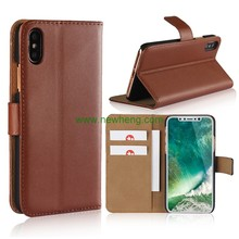 High quality plain wallet leather cell phone case for iphone X