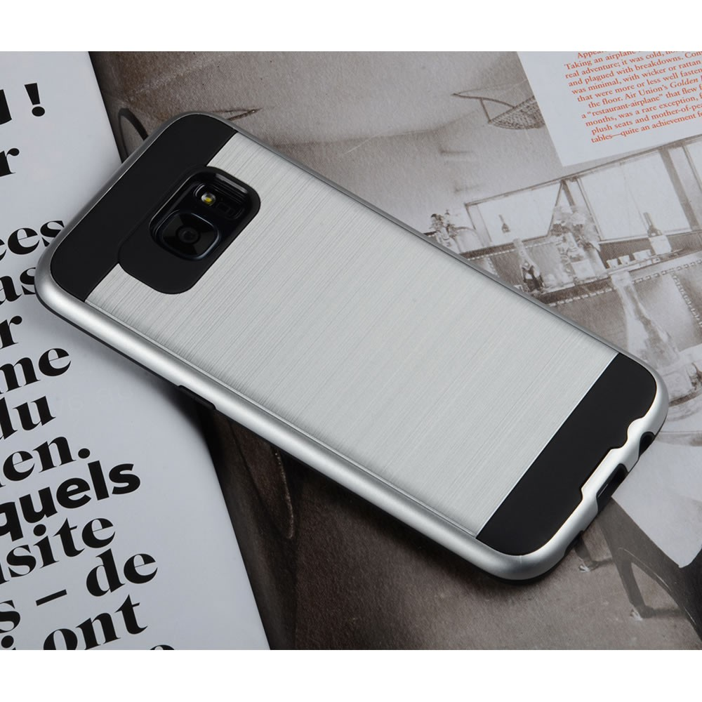 C&T Heavy Duty Brushed Metal Texture Hybrid Dual Layer Slim Protector Case Cover for Samsung Galaxy S7