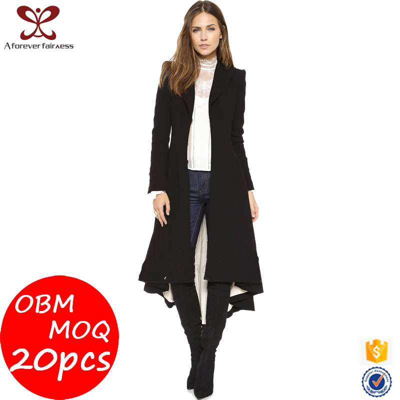 A Forever Fairness Women Coats 2017 Latest Design Forked Tail Black Trench Coat