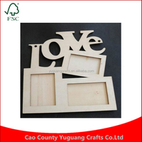 Custom home decoration art home desk decor three windows hollow love design wooden photo frame