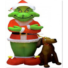 Lighting Cartoon Mascot 2m Wolf Animal Inflatable Model With Dog For Christmas Festival A135