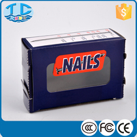 Blue small types corrugated cardboard die cut nail packaging box with window