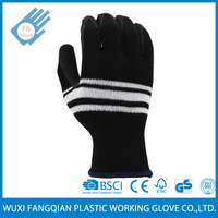 Colorful Stripe Coating Black Latex on Palm Knitted Garden Glove