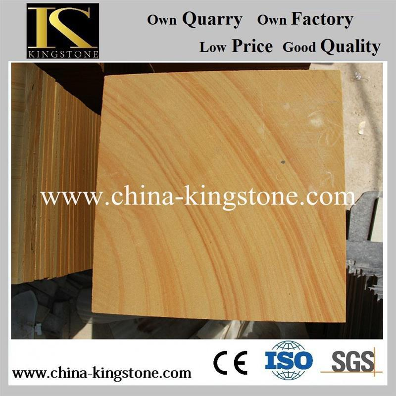 Hot selling light yellow wood vein sandstone