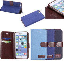 Jeans Style Wallet Leather Case For iPhone 6 Plus