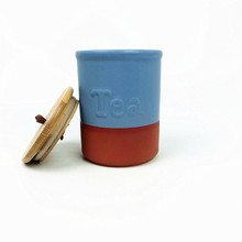 Ceramic cookware Storage jar with Wood Bamboo Lid Terracotta Canister