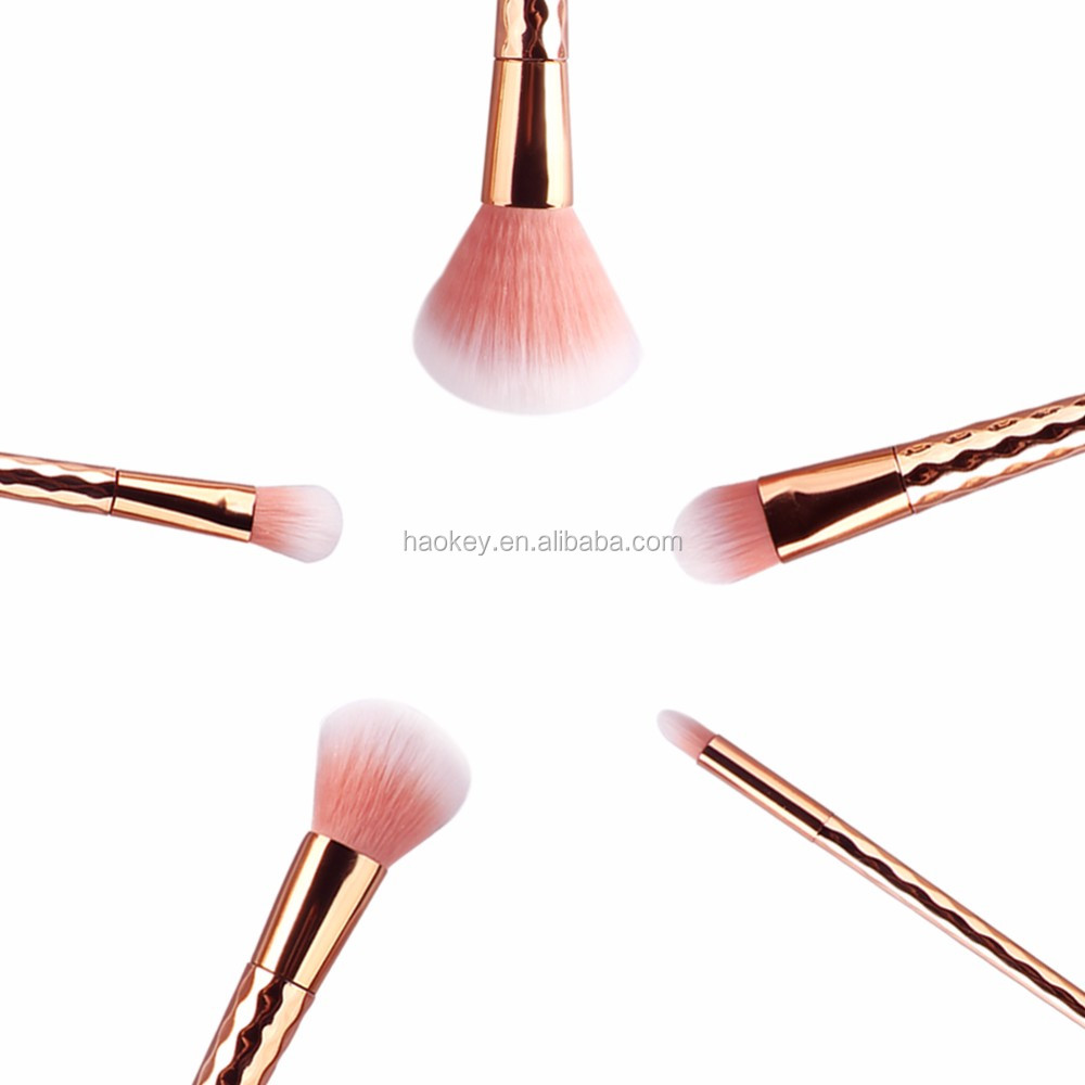 2017 Great Design Hiqh Quality Rose Gold Diamond Handle Pink Synthetic Makeup Brushes