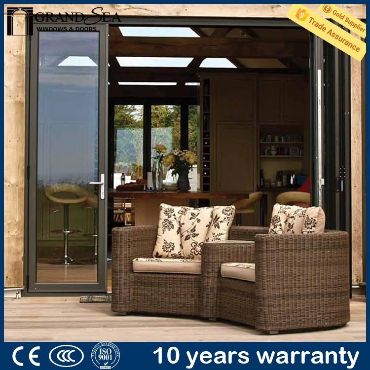 Top quality decorative grill design folding door rail with insect screen