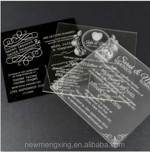 Cheap Engraved Damask Acrylic wedding Invitation Cards
