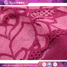 Fancy Color Pink and Red Splended Cotton Lace Fabric Jacquard Style Scalloped Edges Lace Fabric