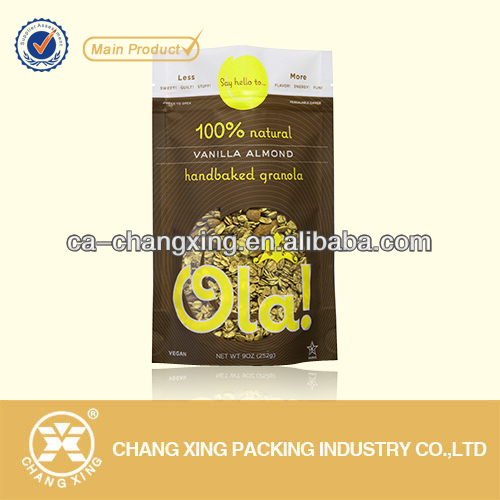 Versatile dried food plastic bag with resealable zipper for oatmeal packaging