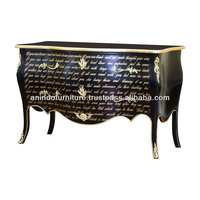Black Painted Poem Signature Commode with 2 Drawers