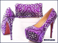 MS4536 Purple shiny design party women african italian shoes and bag sets with many stones
