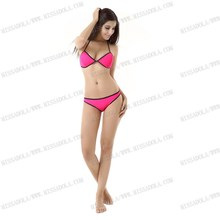Miss Adola sports sexy brazilian bikini yong girls pink neoprene bikini swimwear (M74)