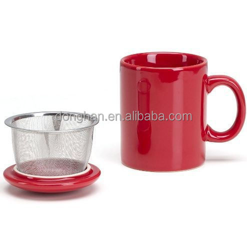 porcelain/ceramic mug with strainer,12oz