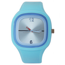 Stylish square silicone jelly watch for promotional gifts ,high quality silicone wrist watches