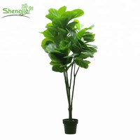 Best quality artificial indoor ornamental green fiddle foliage plant