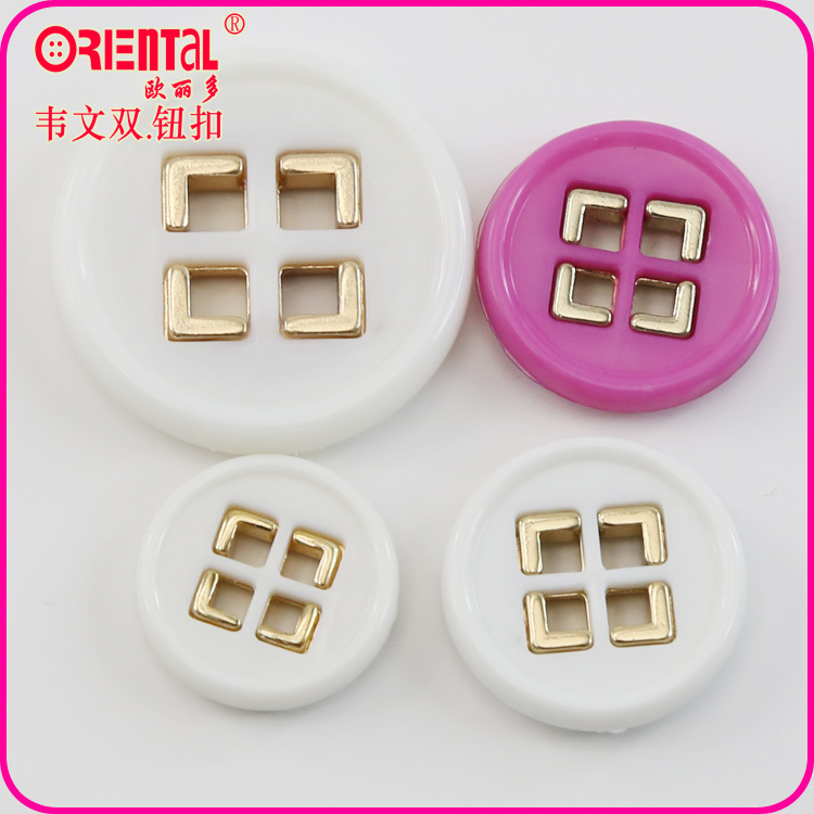 fashion designer plastic combined clothing button with square holes