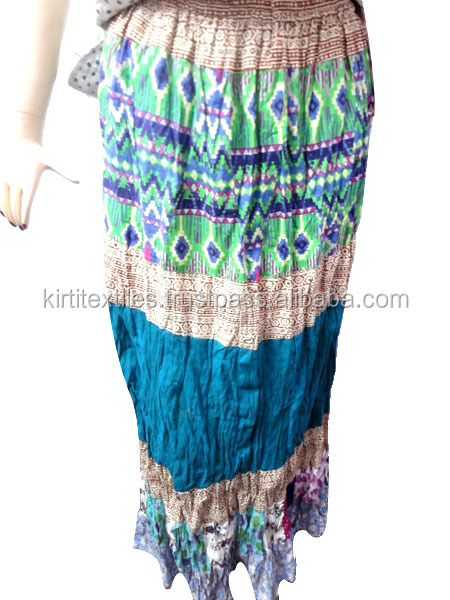 KTSK-9 Indian Traditional Beautiful Gypsy Skirts High Fashion asymmetrical Stretchable Skirt For Girls Frm Jaipur Wholesaler