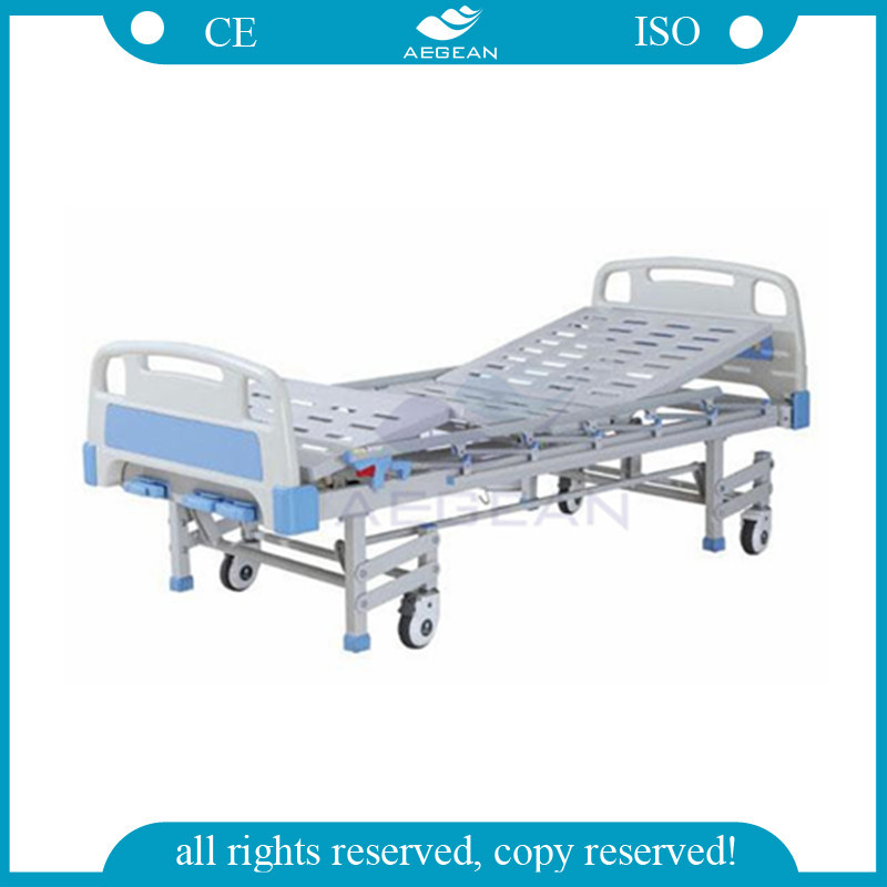 Hospital manual crank with 4 legs&silent wheels 3 function mechanical low rise invacare adjustable hospital sick bed
