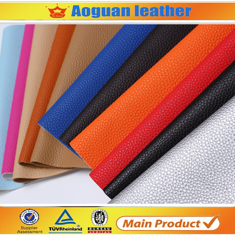 Soft handing feeling metal color litchi embossed pu leather for hair bows and shoes