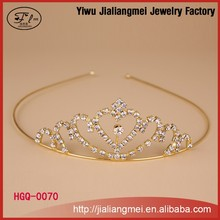 2015 Europe style heart shape gold wedding cheap beauty pageant tiaras for girls