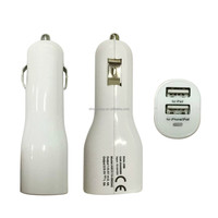 High quality universal car charger 3.4A dual usb car battery charger for iphone/ipad white color