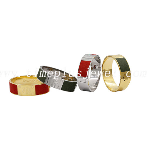 colors wholesale fashion custom design stainless steel metal horse leather bangle jewelry