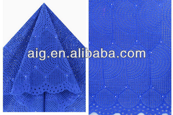African Swiss Voile Lace Fabric,100% Cotton Lace, 2804 Royal blue