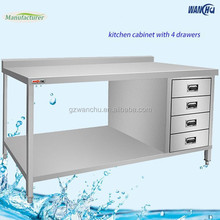 2 Tiers Stainless Steel Kitchen Worktable with Drawers/Malaysia Kitchen Food Prep Table China Factory
