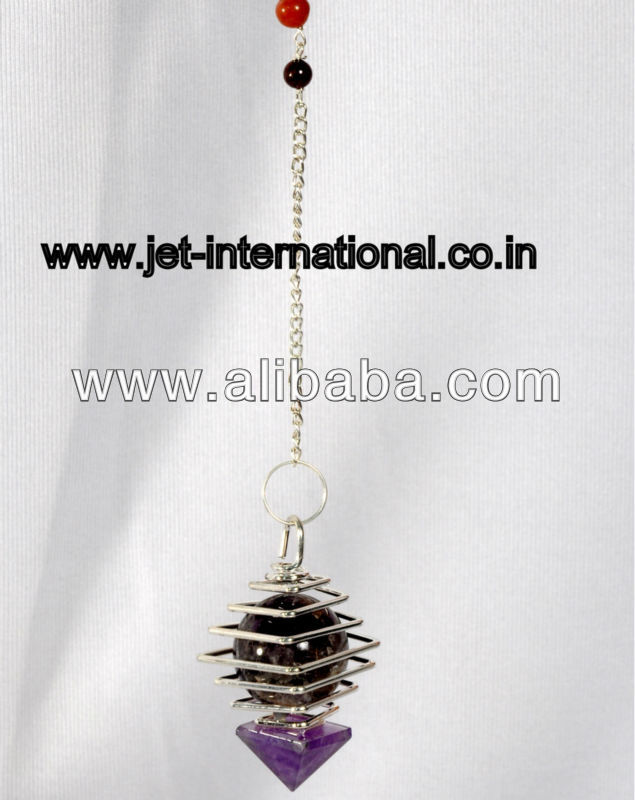 Jet Amethyst Cage Pendulum with Ball & Crystals Free Booklet Jet International Crystal Therapy