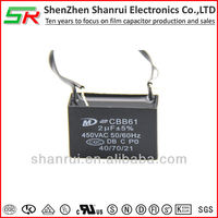 A class heat resisting CQC approval electrical ceiling fan capacitor cbb61 2uf 450v
