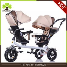 2017 factory wholesale kids ride on toy kids double seat tricycle bike baby tricycle bike twins for sale