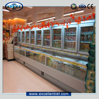 combi freezer showcase for seafood display in supermarket/hypermarket