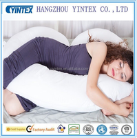 Hyoallergenic J Shaped- Premium Contoured Body Pregnancy Maternity Pillow with Zippered Cover - White