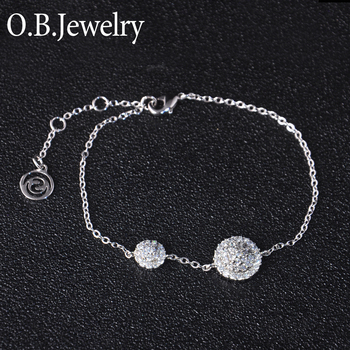 Asian Fashion Rhodium Plating Jewelry 925 Solid Silver Charm Bracelet