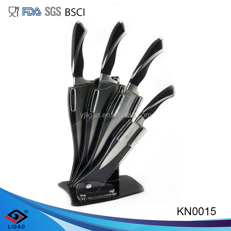 High quality POM forged flat handle stainless steel kitchen knife set with acrylic block
