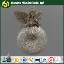 Hanging glass ball with angel decoration