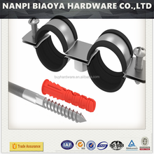 3/8 to 10 inch galvanized heavy duty pipe clamp with rubber cushion ,heavy duty pipe clamp with rubber ring